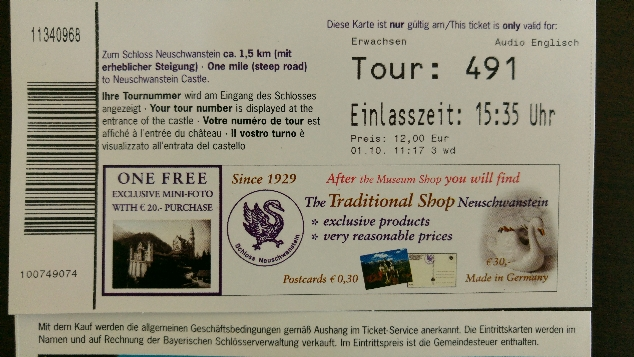 Neuschwanstein ticket